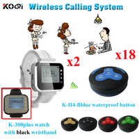 Wireless Buzzer Bell System 18 Waterproof Guest Call Button With 2 Pager Watch Wireless Call Bell Restaurant Table Buzzer