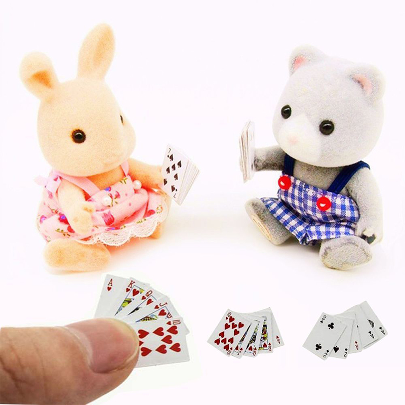1 Sets Miniature Poker Mini Paper Playing Cards Cute Doll House 1:12 Mini Poker