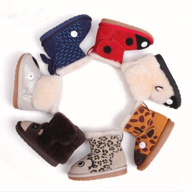 2016 Winter Baby's Boys Girls Children's Snow Boots 1 2 3 year Cartoon Monkey Genuine Leather Sheep Fur Wool Warm Shoes