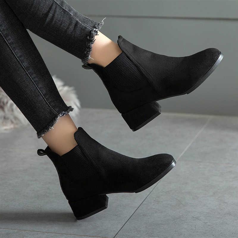 ผู้หญิงฤดูใบไม้ร่วงฤดูหนาว FLOCK รองเท้า SLIP-ON Toe 4 ซม.ส้นลำลองสีดำ/อูฐ booties ขนาด 35-41