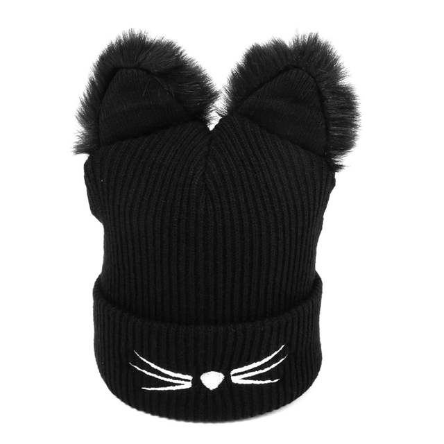 bd0e6a59fdc placeholder Women Winter Hat Harajuku Woolen Beanie Devil Horns Cat Ear  Crochet Braided Knitted Fur Cap Noverlty