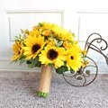 New Style 2016 Amarelo Girassol Artificial Flores Do Casamento Noivas Bouquets Bouquets De Casamento Para Noivas Ramos De Novia Artificial