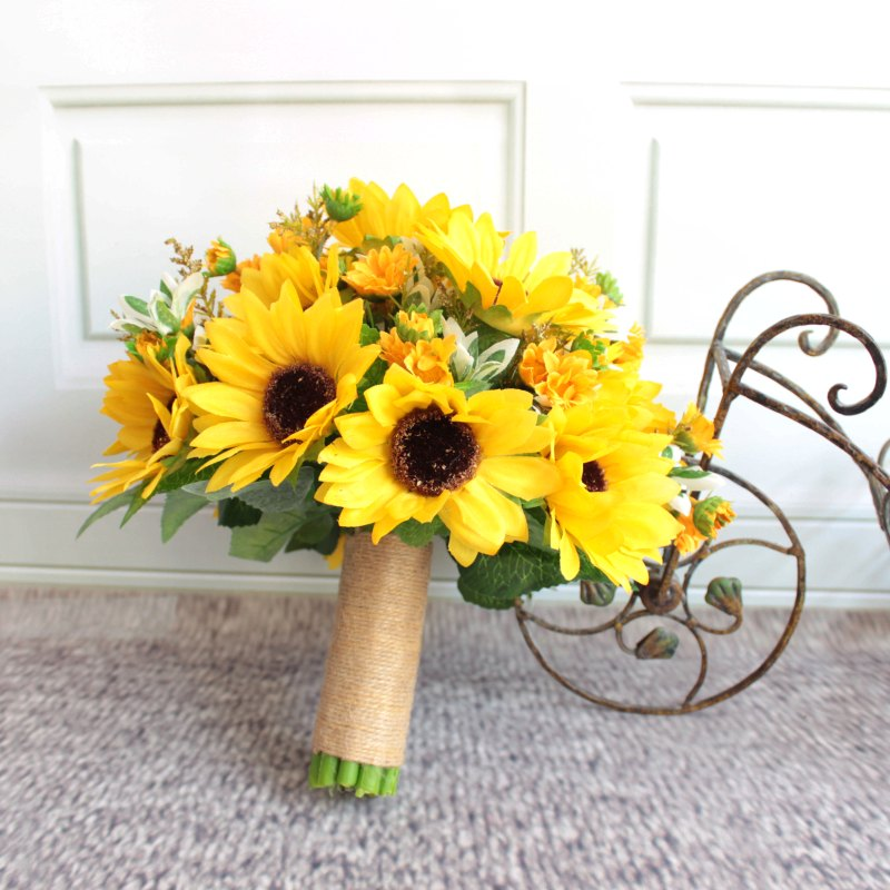 Black And Yellow Wedding Flowers: Artificial Sunflower Yellow Wedding Bouquets For Brides