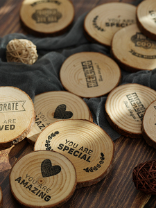 Image 2 - Diameter 4~7cm Wooden Round Piece Heart shaped Leaf Hello Loved Cool Special Carving Art Drawing Photography Accessories Props