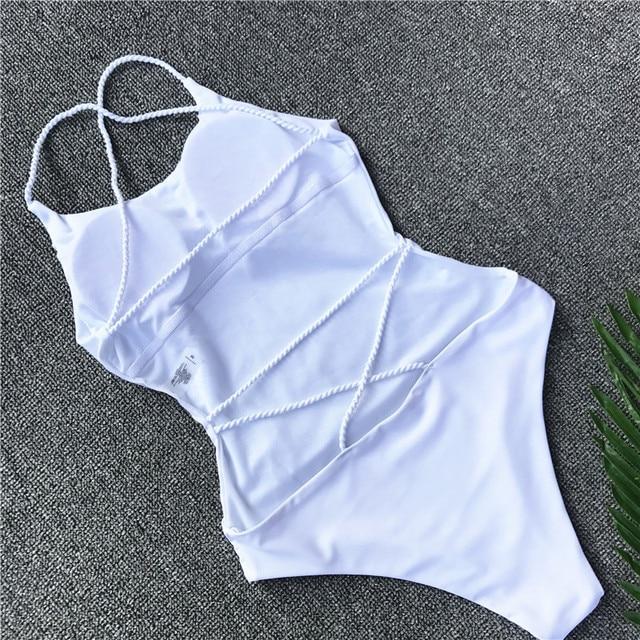 Sexy Strappy One Piece Girls Swimsuit Swimwear 2019 Women Female High Waist White Bikini Badeanzug Biquini Brasileiro Beach Wear 6