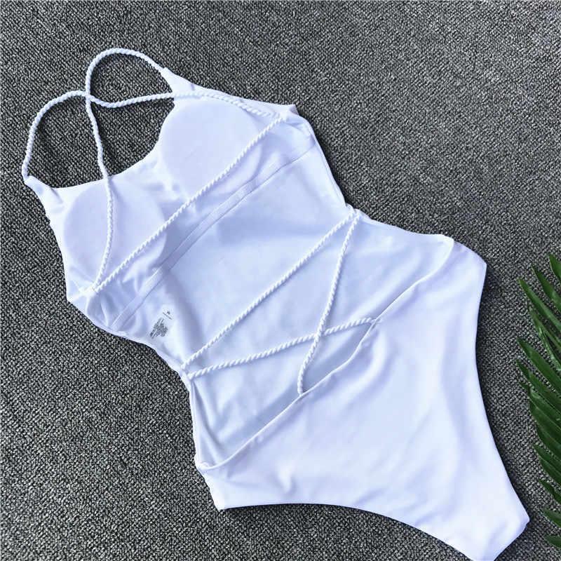 Sexy Strappy jeden kawałek dziewczyny strój kąpielowy stroje kąpielowe 2019 kobiet kobiet wysokiej talii białe Bikini Badeanzug Biquini Brasileiro na plaży nosić