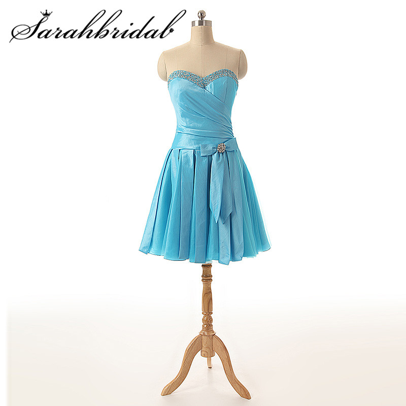 Cheap Sweety Homecoming Dresses Bow Pleat Sleeveless Sweetheart Beaded Lace Up Crystal Knee Length Cocktail Gowns SD174