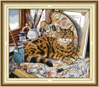 Lovely Cat And Oil Painting Printed Canvas DMC Counted Chinese Cross Stitch Kits Printed Cross Stitch