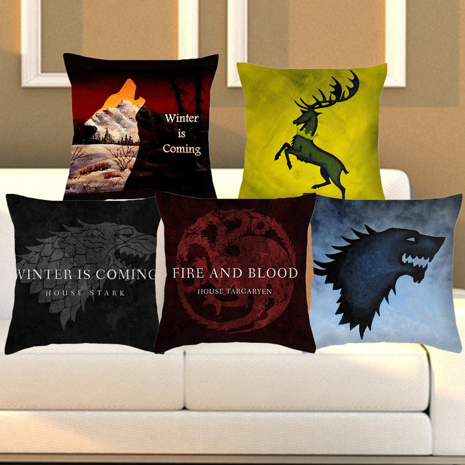 cushion cover game of thrones pillowcase polyester cotton logo chair seat sofa bedroom. Black Bedroom Furniture Sets. Home Design Ideas