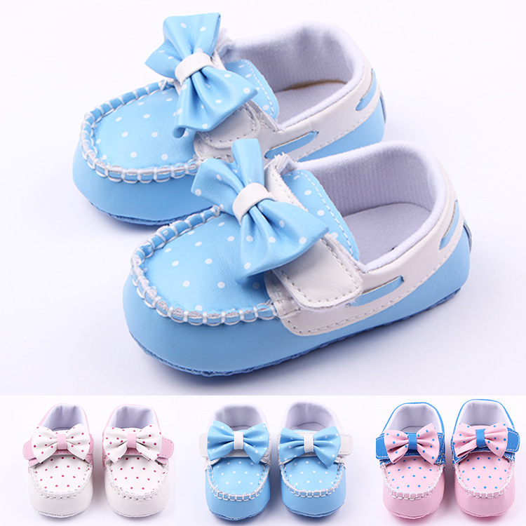 11-13cm Cute Baby Girl Shoes Toddler First walkers Shoes Pink Bowknot Sapato Infantil Kids Soft Sole PU Moccasins for Girls