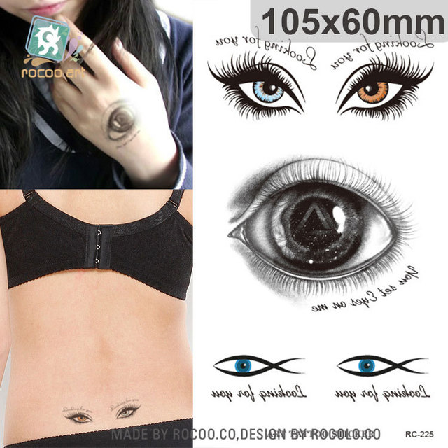 Individuality Halloween Waterproof Temporary Tattoos For Lady Women 3d Spooky Eye Design Tattoo Sticker RC2225