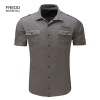 Men's Shirt 2019 Summer New Men Cargo Shirt 100% Cotton Solid Mens Casual Male Military Style Shirts Plus Size S XL