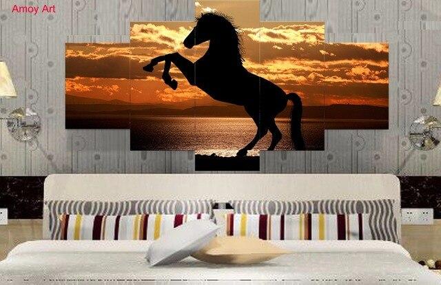 Poster Murali Per Camere Da Letto : Stampe hd 5 pezzo tela sunset cavalli olio di paesaggio pittura