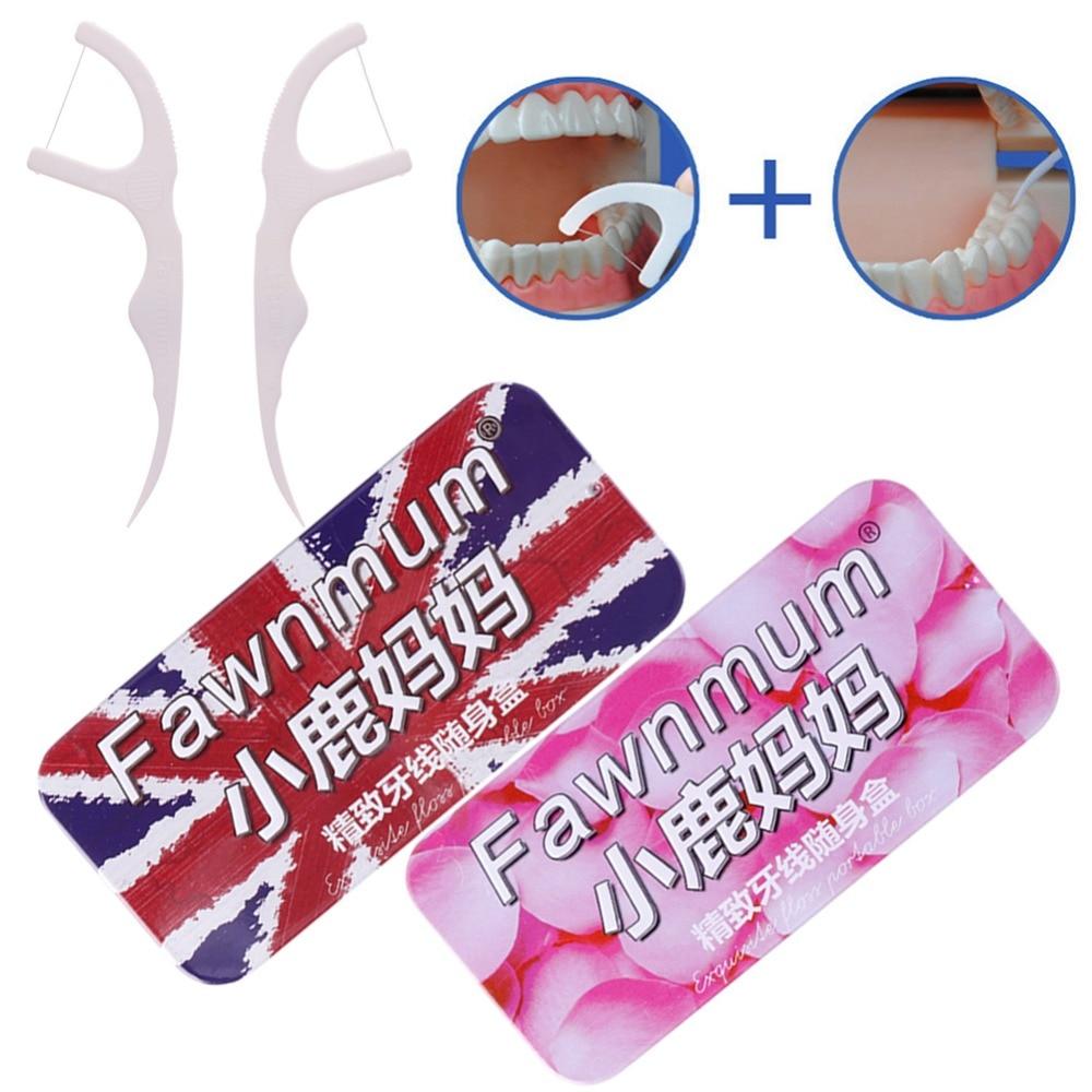 #270446 nur Box 2019 Neuer Stil Kitz Mama Dental Metall Zahnstocher Zahnseide Rechteck Aufbewahrungsbox Blau Rosa Farbe Halter Veranstalter