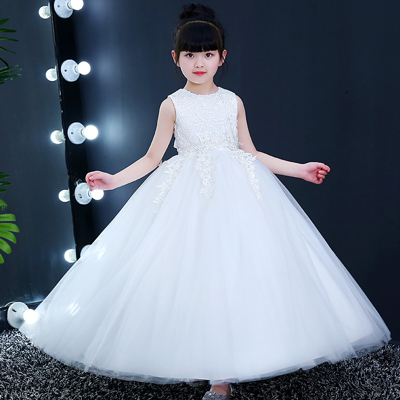 New Luxury Summer Long White Flower Girls Dress Kids Teenagers Party  Princess Elegant Ball Gown Lace Sleeveless Christmas Dress - aliexpress.com  - imall.com 245b5b5aa