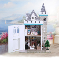 DIY Doll House Minatures Dollhouse Wooden Mini Casa With Furnitures Building Villa Assembly Model Toys For Children K012 #EE
