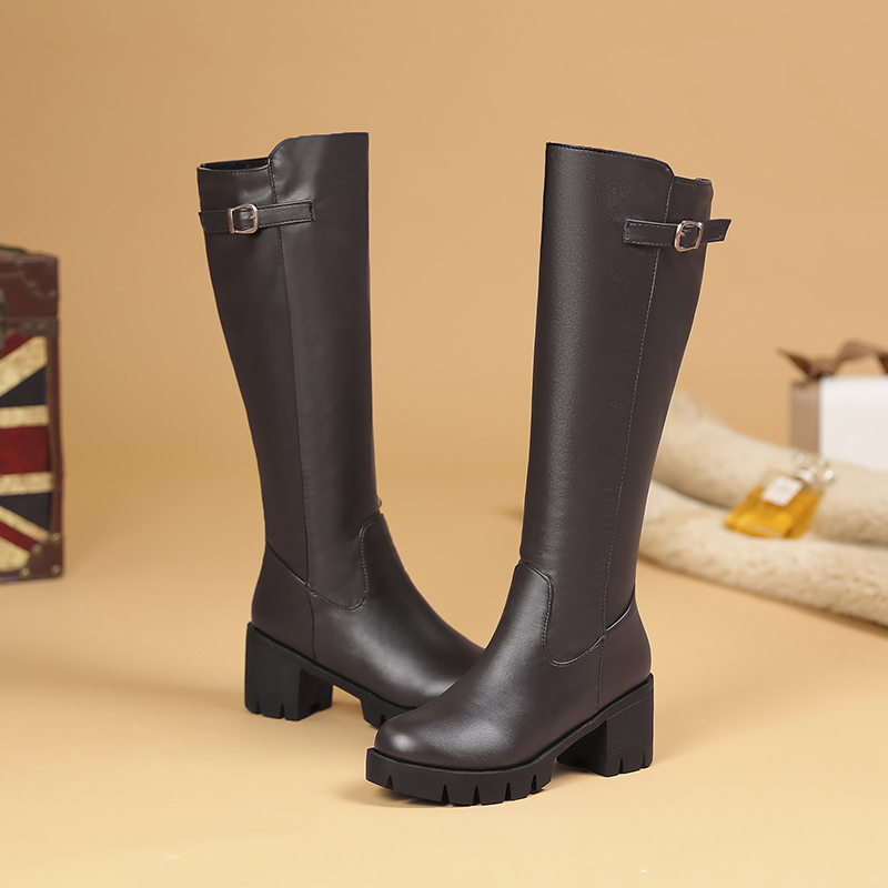 Women Boot Zipper Long Boots Shoes Women Boots Buckle Black Waterproof Shoes Woman Snow Booties Botas Mujer zapatos de mujer in Knee High Boots from Shoes