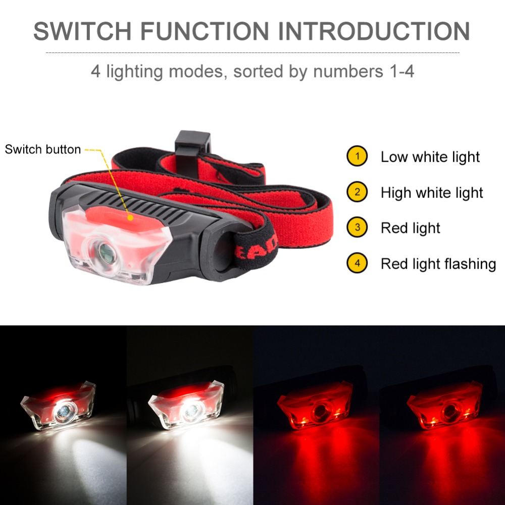 Mini Head Lamp 4 Modes Waterproof 1*XPE White+2*LED Red Flashlight Headlight Headlamp Torch Lanterna With Headband Use AA