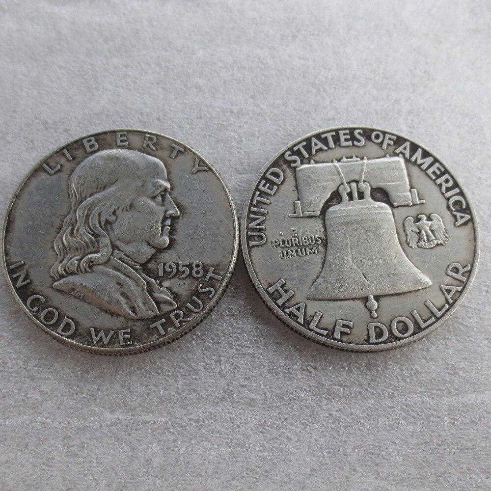 90% серебра или посеребренные 1958 P D Франклин серебро полдоллара высокое качество