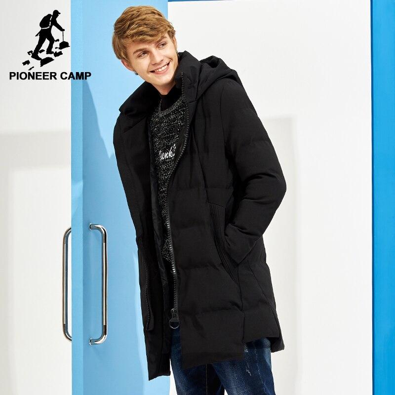 Pioneer Camp nuevo largo grueso abrigo de invierno hombres marca ropa negro sólido chaqueta con capucha masculina calidad parkas chaqueta AMF705287