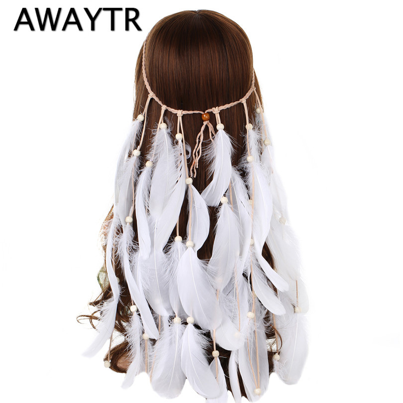 AWAYTR Boho White Red Pink Feather Headband Women Festival Wedding   Headwear   Gypsy Feather Rope Crown Headdress Hair Accessories