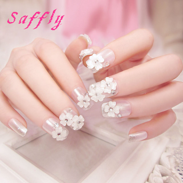 Saffly High Qaulity 24pcs Classic Fake Nail Decorated Acrylic Nail