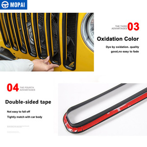Image 4 - MOPAI For Jeep Wrangler TJ 1997 2006 Mesh Front Insert Grille Cover Trim Car Exterior Decoration ABS Stickers Car Styling