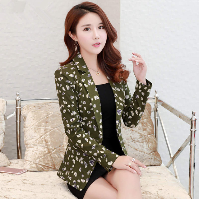 Blue Female Jackets Women 2019 Office Blazers Blazer Y1077 Jacket Suit Work green Ladies Feminino Printing Small And Spring aFwqS4w