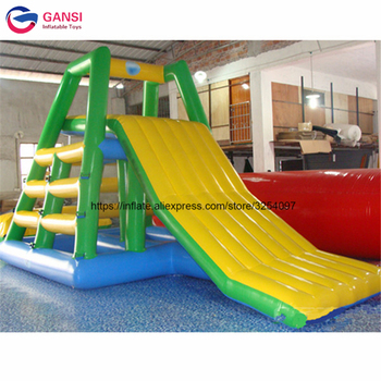 2018 high quality inflatable floating water slide,Guangzhou factory cheap Inflatable climbing water slide for sale professional 4 3 3m water climbing iceberg cheap inflatable water iceberg for water playing