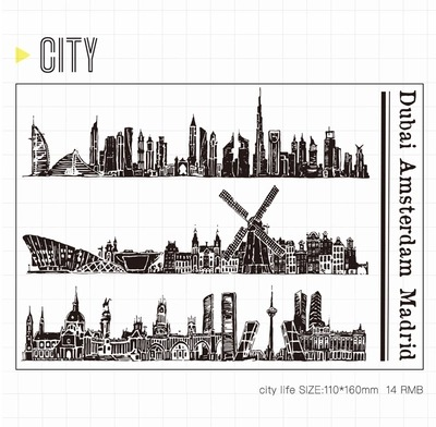 WYF936 City Scrapbook DIY Photo Album Cards Transparent Acrylic Silicone Rubber Clear Stamps Sheet  11x16cm wyf1017 scrapbook diy photo album cards transparent silicone rubber clear stamp 11x16cm camera