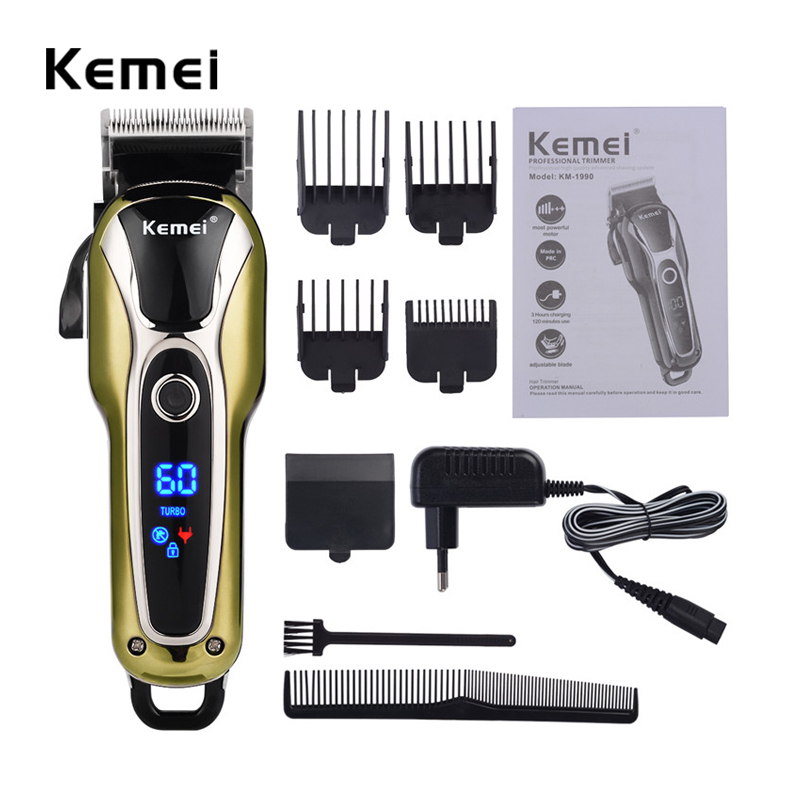 Kemei Professional Super Power LCD Digital Hair Trimmer Salon Clipper Low Noise Cutting Trimmer Limit Combs Man Kids EU 110-240V 110 240v low noise rechargeable hair trimmer titanium blade 0 8 2 0mm adjustable hair clipper with 4 limit comb km 6688 s43