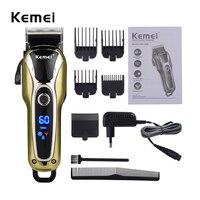 Kemei Professional Super Power LCD Digital Hair Trimmer Salon Clipper Low Noise Cutting Trimmer Limit Combs Man Kids EU 110 240V