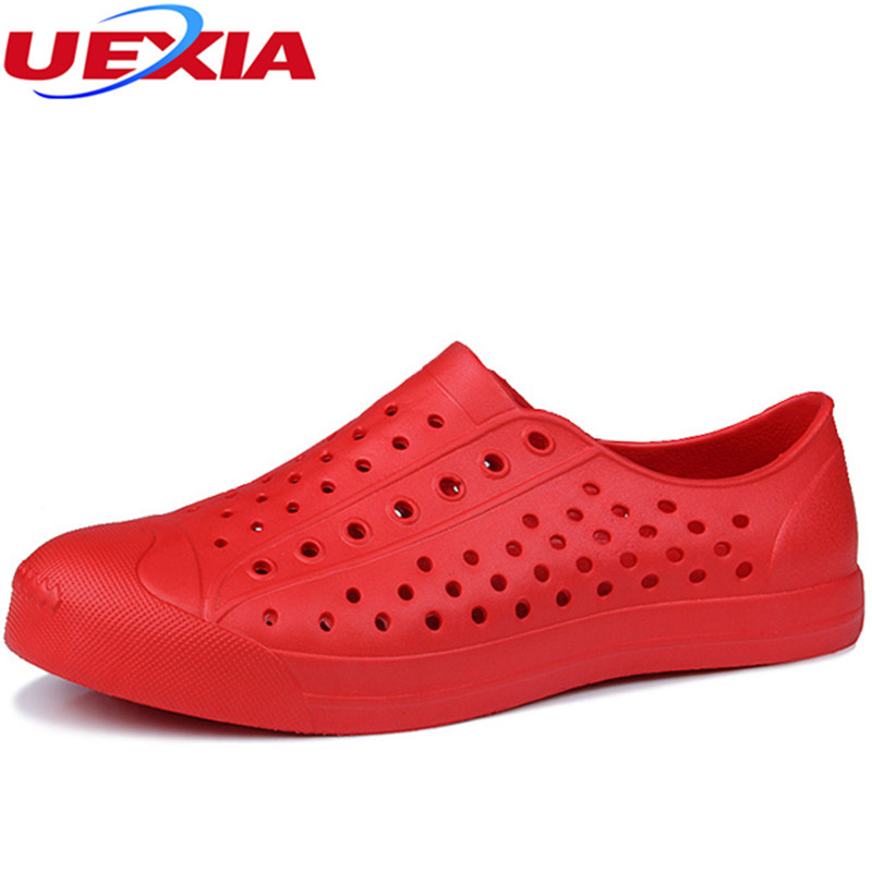 UEXIA Casual Sandals Hollow Outdoor Jelly Garden Breathable hole Cutout Slip On male cool Flats solid Shoes men Clogs Outside