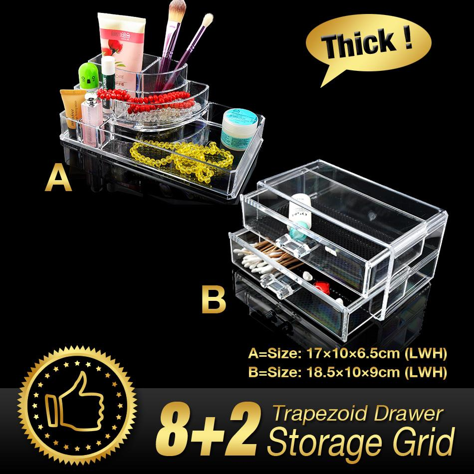 WITUSE Acrylic Makeup Organizer cosmetic organiser lipstick holder case make up transparent acrylic storage box drawers