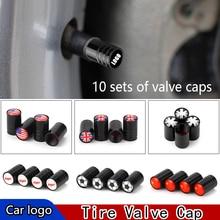 10 наборы для ухода за кожей автомобильных шин клапан кепки металлический клапан шин вентиль, крышка автомобиля логотип авто запчасти