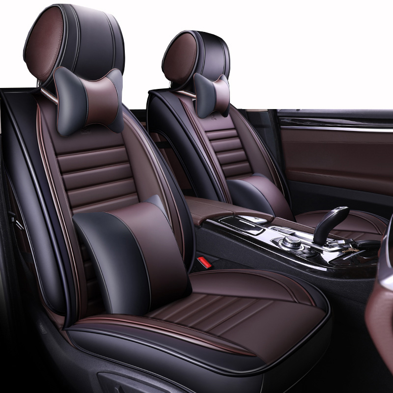 (Front+Rear)Leather Automobiles Seat <font><b>Covers</b></font> <font><b>For</b></font> <font><b>Audi</b></font> <font><b>100</b></font> <font><b>c4</b></font> 80 a7 a8 q2 q3 q5 q7 S3 S4 S5 of 2010 2009 2008 2007 image