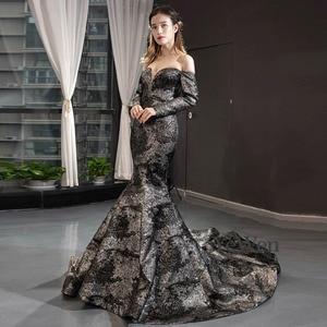 Image 2 - YeWen Black Mermaid Evening dress formal dress  arab dresses evening 2020 Long Sleeves