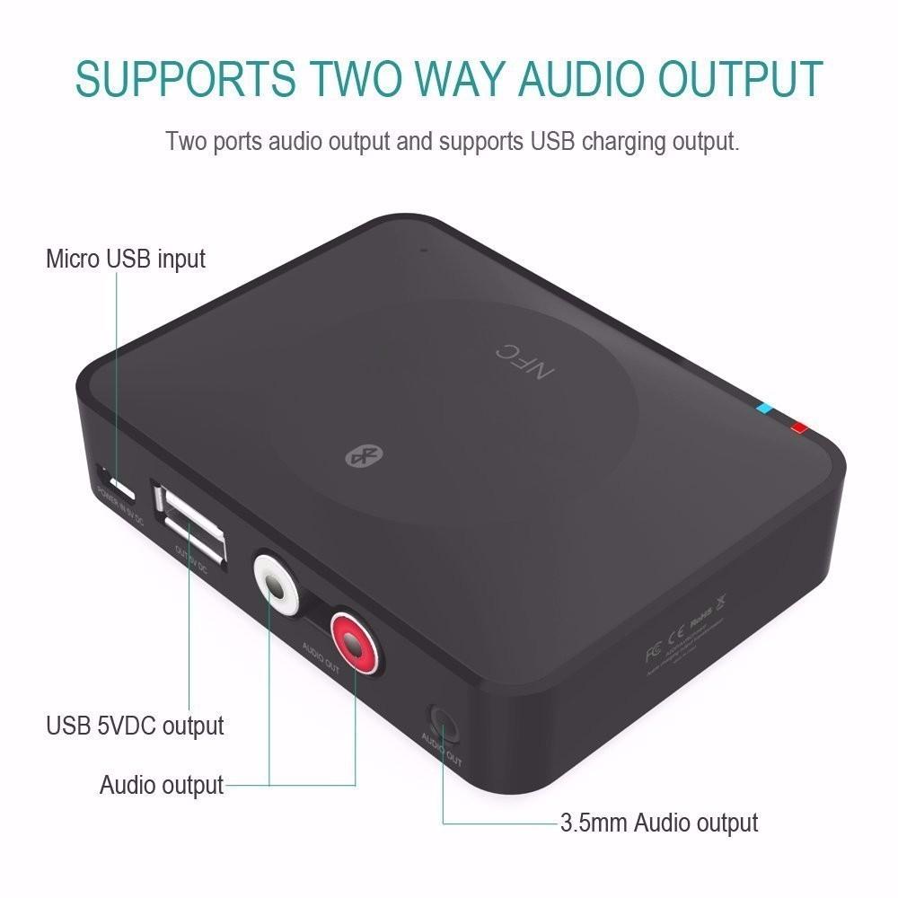NFC Bluetooth Wireless Desktop Stereo Audio Music Receiver DVD Player Car Speaker USB Adapter  (23)