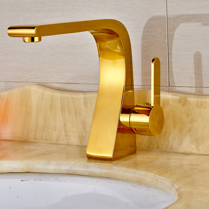 Golden Color Deck Mounted Bathroom Sink Tap Single Handle Basin Mixer Tap Spout Tap Crane free shipping ad8052ar ad8052 new sop8 ic 10pcs lot