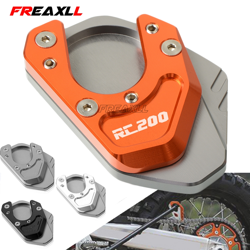 For KTM RC200 RC <font><b>200</b></font> 2014 2015 2016 2017 2018 CNC Motorcycle Aluminum Kickstand Side Stand Plate Pad Support Enlarge Extension image
