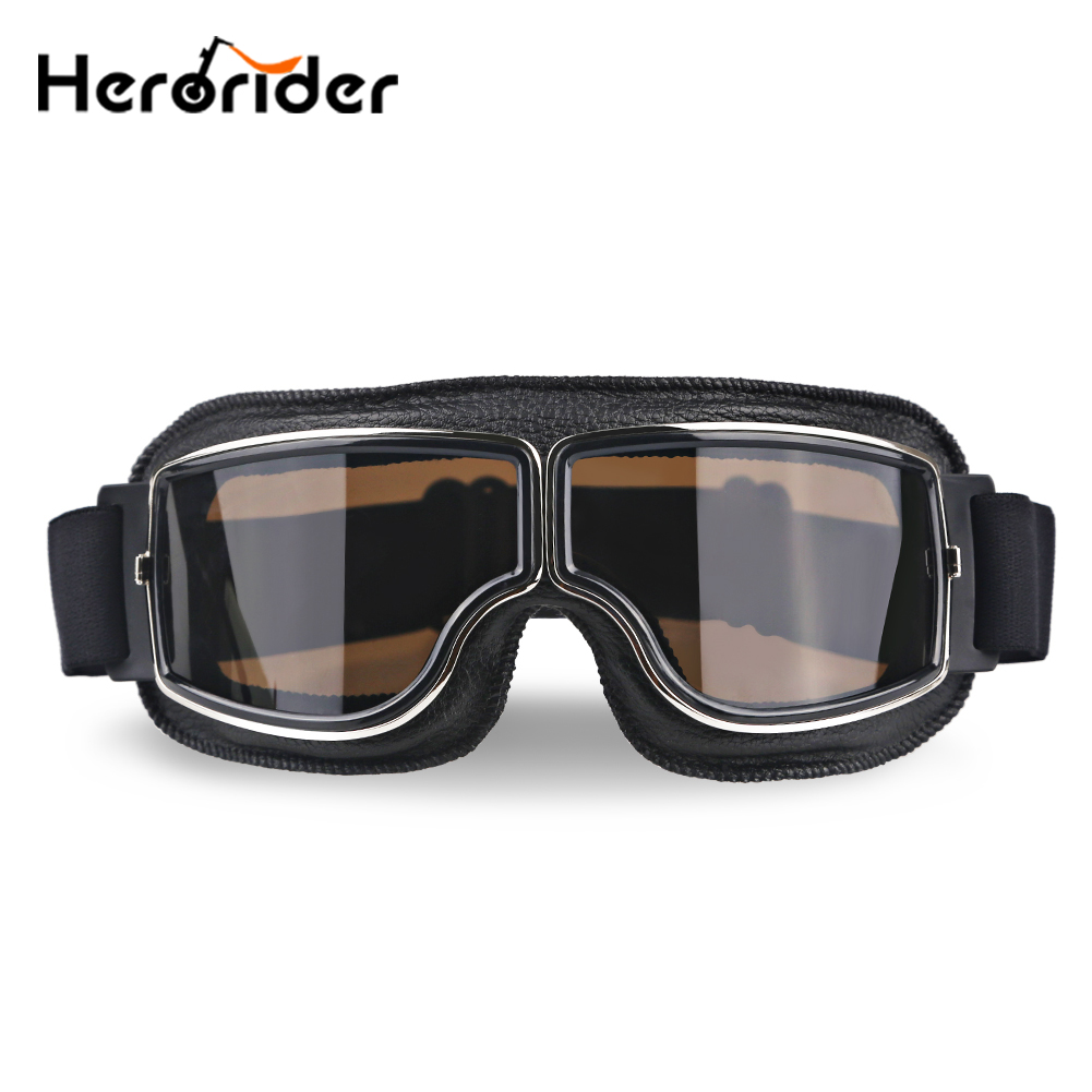 Herorider Universal Vintage Motorcycle Goggles Motorbike Scooter Biker Glasses Helmet Goggles Foldable For Harley plywood