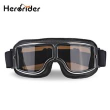 Herorider 유니버설 빈티지 오토바이 고글 오토바이 스쿠터 바이커 안경 헬멧 고글 Foldable