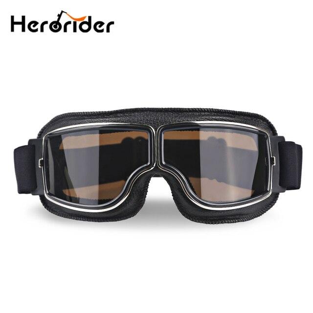 Herorider Universal Moto Scooter Aviador Da Motocicleta Óculos de Proteção Piloto Do Vintage Motociclista Óculos Óculos de proteção do Capacete Dobrável Para Harley