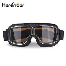 Herorider ユニバーサルヴィンテージオートバイゴーグルバイクスクーターバイカーメガネヘルメットゴーグル折りたたみ