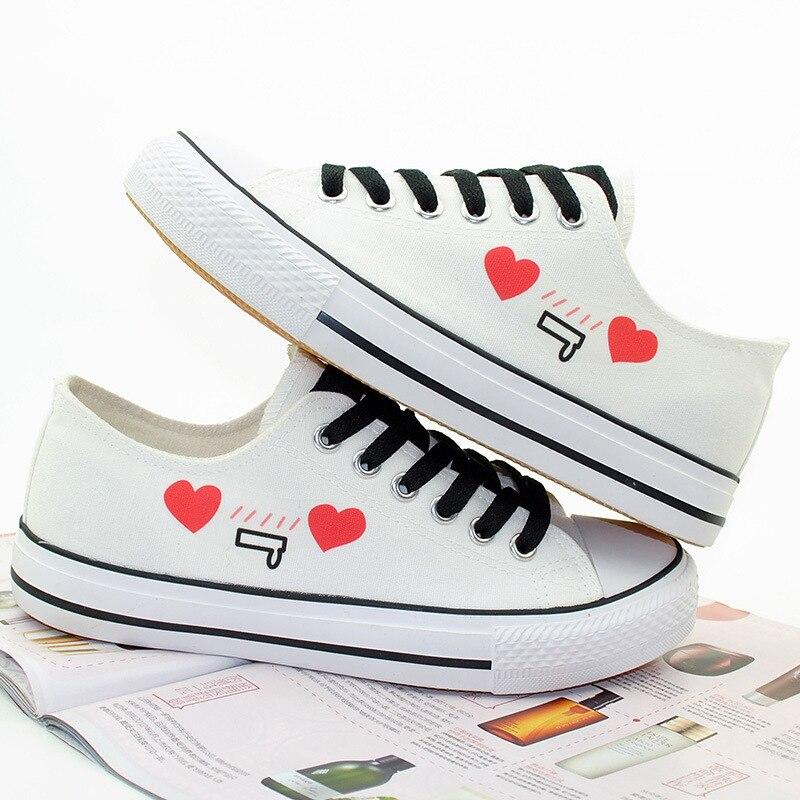 heart Sourire Toile happy Chaussures Coréenne Casual Imprimé Version Du Couple White Mignon eyes Femmes 7tnCP6