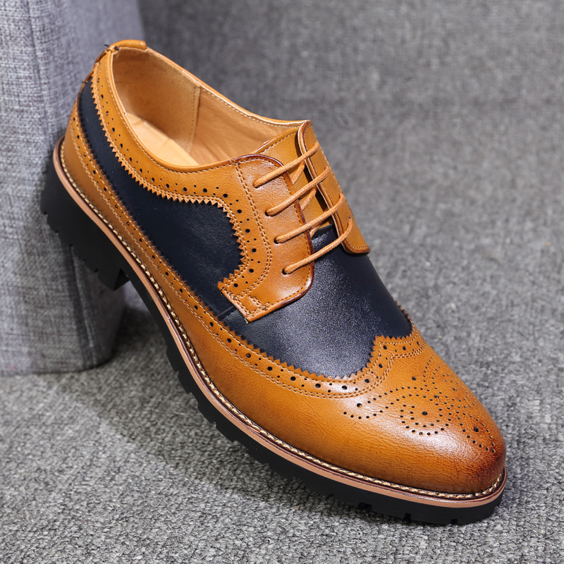 2019 Oxford Shoes Men Brogues Shoes Lace-Up Bullock Business Wedding Dress Shoes Male Formal Shoes image