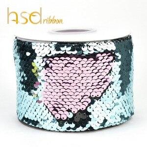 Image 5 - HSDRibbon 75 millimetri doppio colore Sequin Tessuto Reversibile Glitter Sequin Del Nastro 25Yards per Rullo per gli archi fai da te