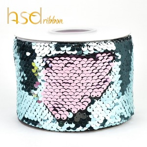 Image 5 - HSDRibbon 75mm double color Sequin Fabric Reversible Glitter Sequin Ribbon 25Yards per Roll for diy bows
