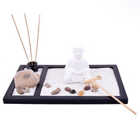 Feng Shui ZEN Garden Sand Buddha Rake Stone Incense Burner L1009