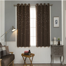 ZHH Hollow Curtains for Living Room Modern Bedroom Decorations Solid Window Treatments Star Pattern Blackout Curtains Panel